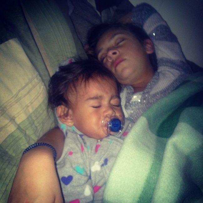 -___- these two right here snore loud af....& guess whos bed there in tonight ;) lol ohhhhhh thats right mine...no sleep for mii I guess -_____- Littlesister Ayanna Daughter JayLeah loudassSleepers notcool