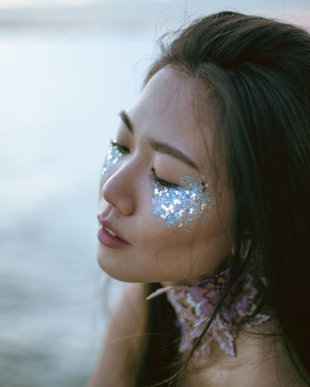 collecting cosmic dust Make-up Beauty Natural Light Portrait Fine Art Photography Beautiful People Portrait Of A Girl Portrait Of A Woman Portrait Photography Fashion Photography Women Of EyeEm Haute Couture Glitter Glitter Makeup One Woman Only Uniqueness