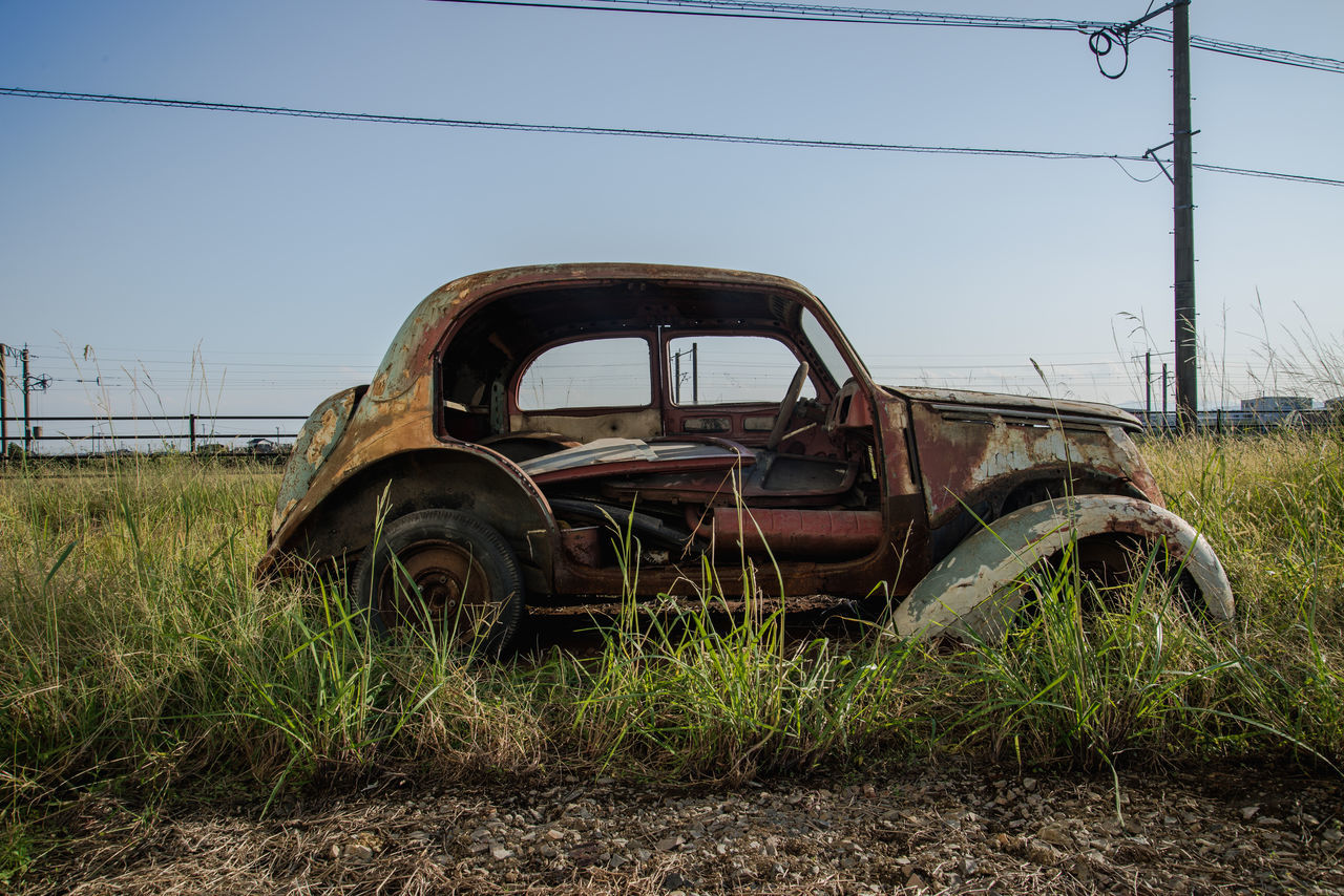 scrapped car Car Damaged Discarded Japan Land Vehicle Old Ruin Outdoors The Past