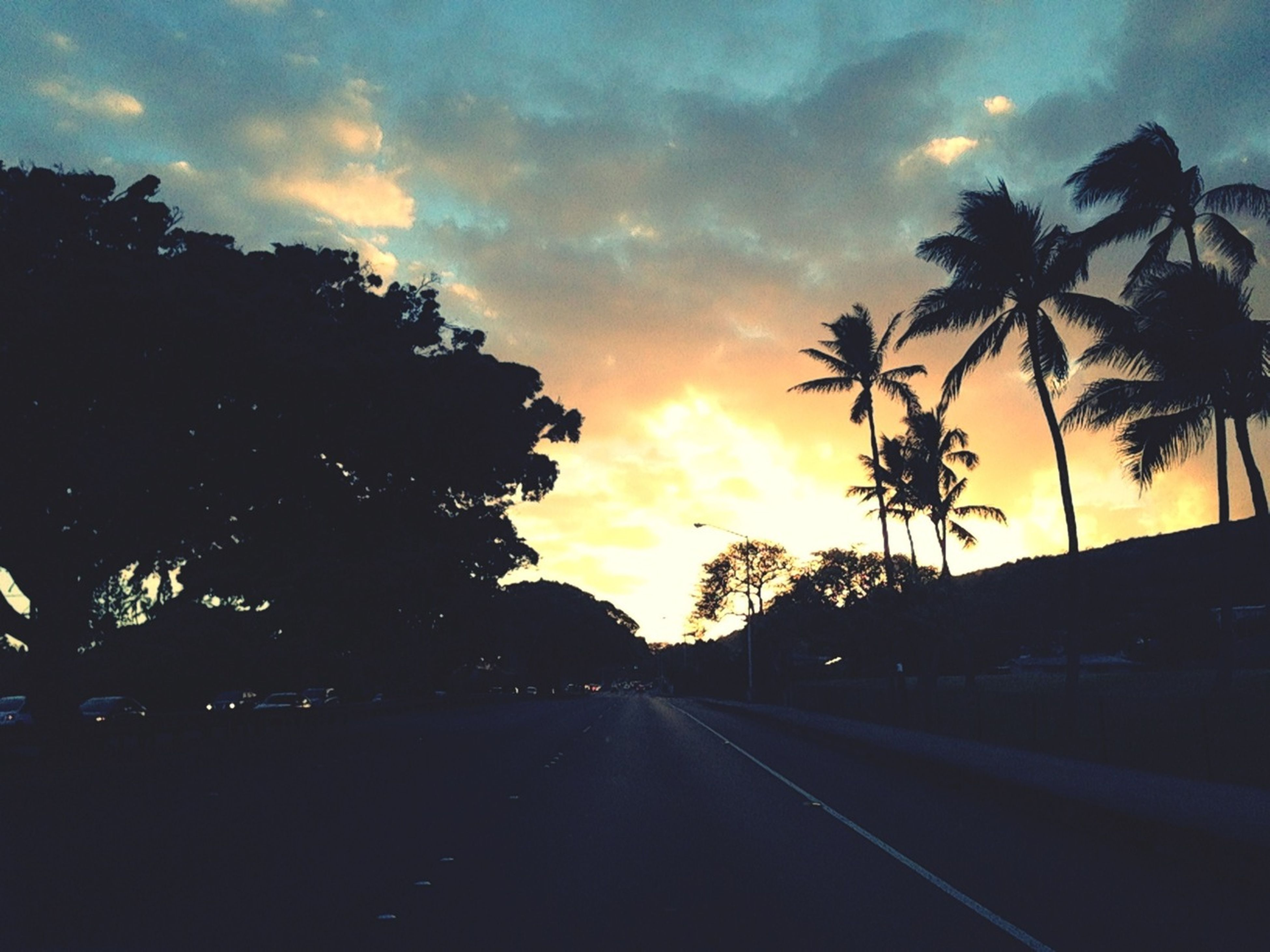 sunset, sky, silhouette, cloud - sky, transportation, road, the way forward, tree, dramatic sky, cloudy, orange color, palm tree, diminishing perspective, cloud, beauty in nature, nature, dusk, car, tranquility, street