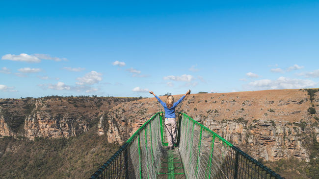 Blue Bridge Day Landscape Natal Nature No People Oribi Gorge Outdoors Overhang Rural Scene Scenic Sky South Africa Suspension Bridge Tranquility Traveling View From Above Woman