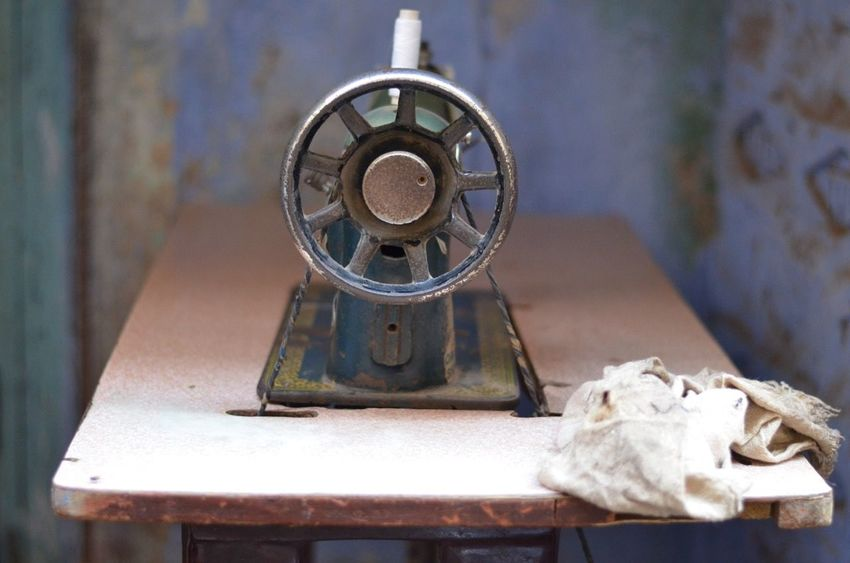 Antique Close-up Old Sewing Machine
