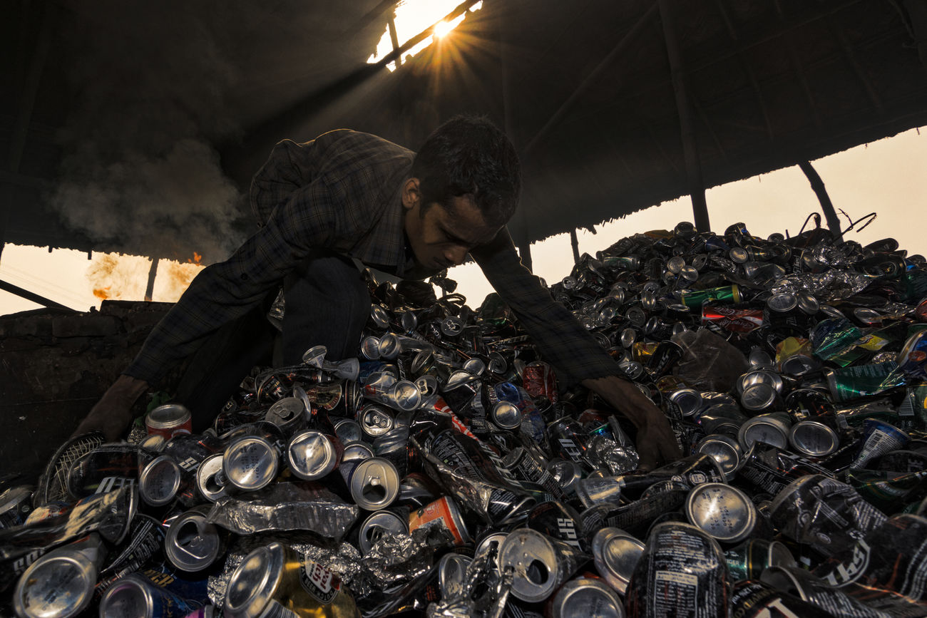 Aluminum recycle Aluminum Aluminum Can Aluminum Cans Aluminum Recycle Environment Environmental Issues One Man Only One Person Outdoors People Recycle Recycling