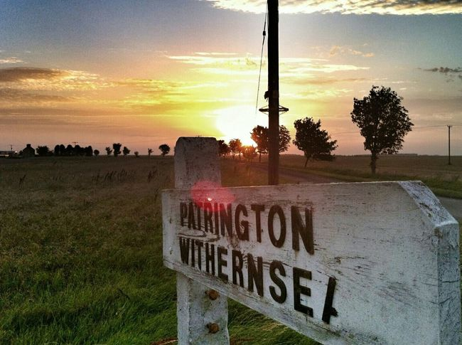 Withernsea East Yorkshire Road Sign Sunset Summer Evening Countryside Holderness