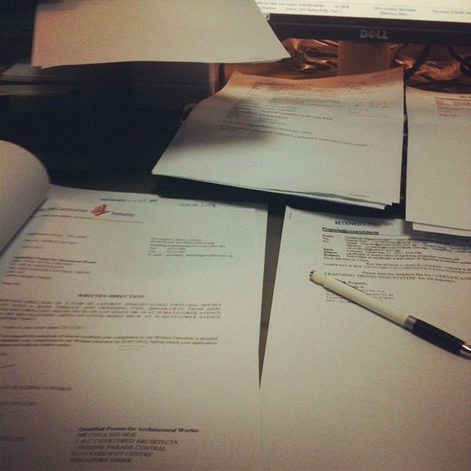 First day of work for 2012. Paperworks!!