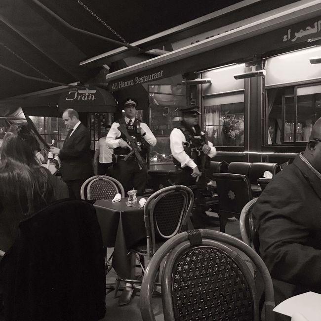 Civilised Times Restaurant London Up Close Street Photography Capture The Moment Black & White Film Noir Police Antiterrorisme Streetphoto_bw City Life Tranquility