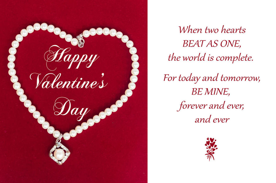 Valentines Day Card Red Love Heart Shape Text Celebration No People Valentines Day Greeting Card  Pearl Pearl Necklace  Heart Romantic Card For Her Emotion Be Mine Forever Heart Beat Red And White White White Background