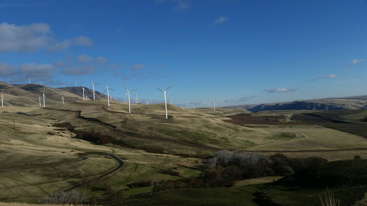 Wind Turbines On Green Landscape Against Blue Sky