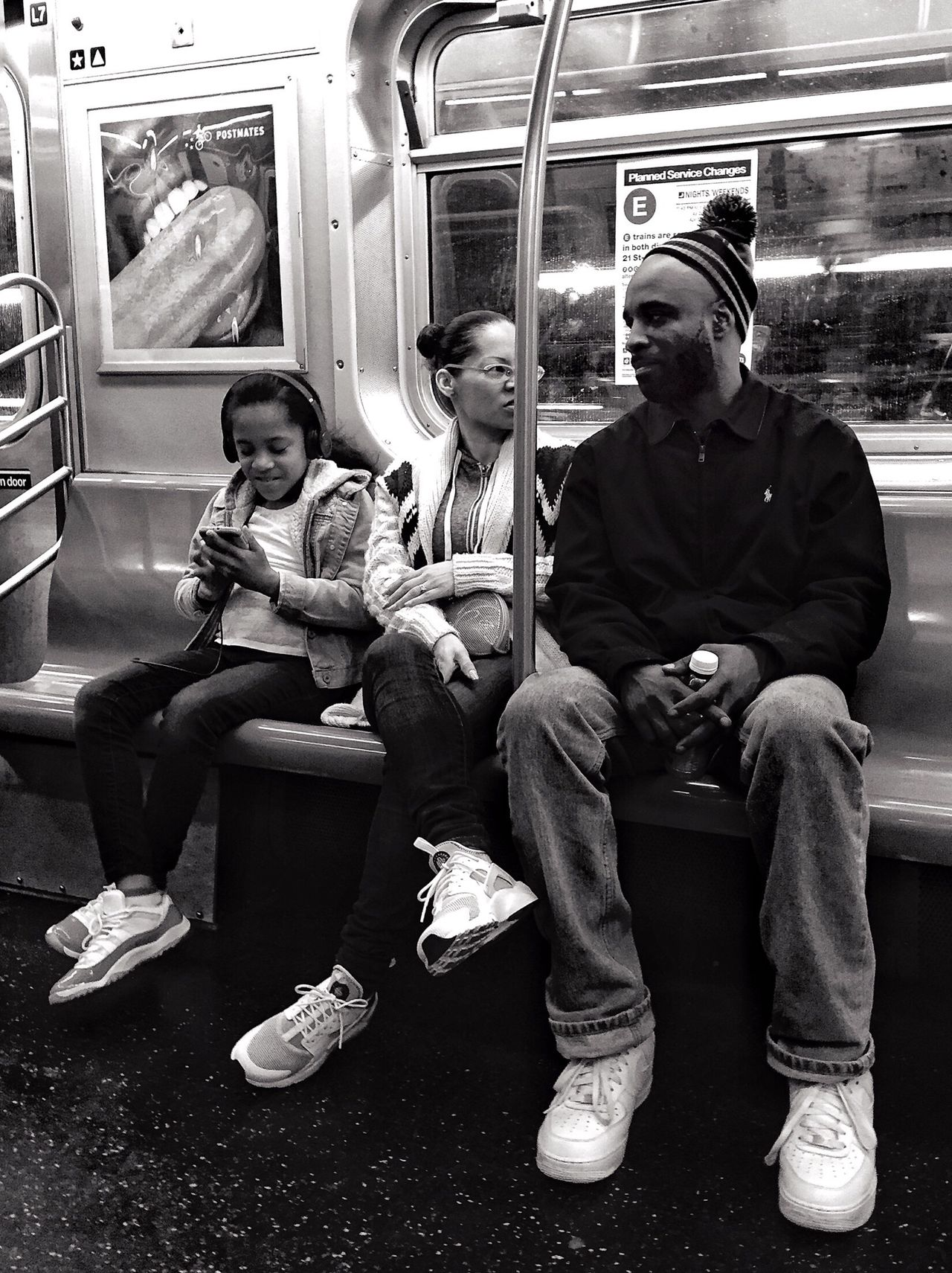 People Of New York Streetphotography Streetportrait Public Transportation Blackandwhite Bnw Mobilephotography Mpro Iphone6 Sitting Public Transportation Transportation Real People Train - Vehicle Full Length Mode Of Transport Subway Train Lifestyles Day People Adult