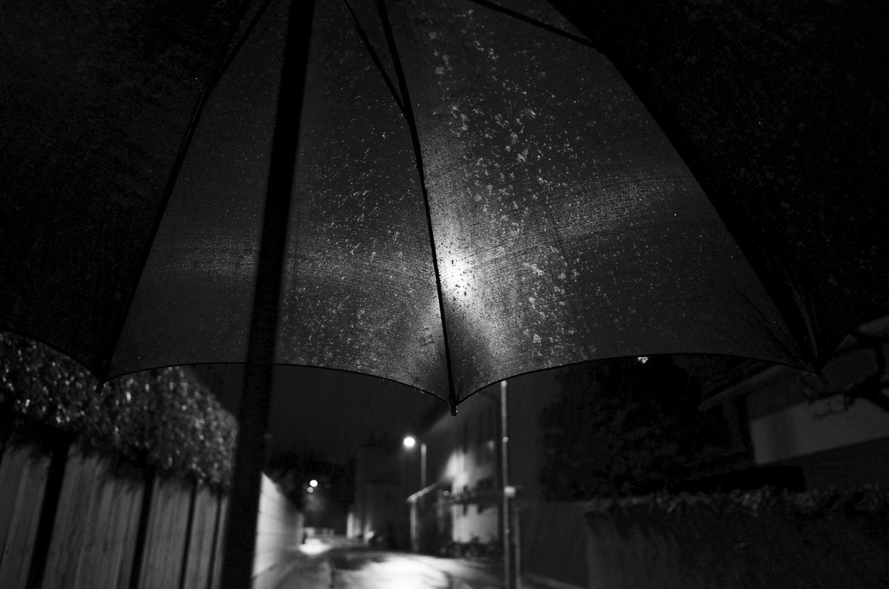 Built Structure Cold Temperature Diffused Light Fabric Illuminated Looking Up Looking Up! Low Angle View Night Nightphotography Pattern Pattern Pieces Rain Raindrops Rainy Road Sign Street Street Light Umbrella Umbrellastreet Umbrella☂☂