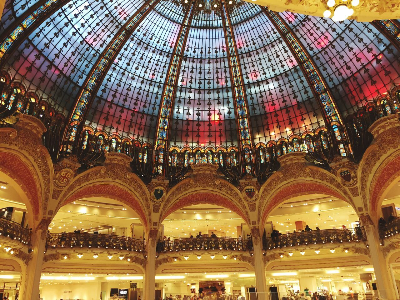 Ceiling Architecture Indoors  Low Angle View Built Structure Illuminated No People Day Sky Galeries Lafayette