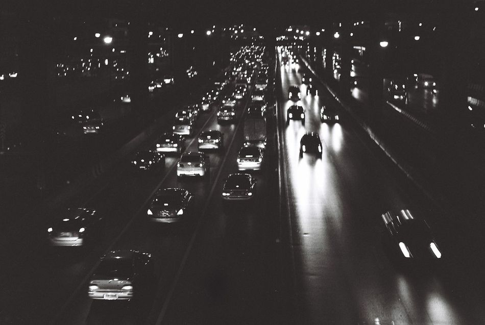 Black And White Car Illuminated Indoors  Night No People Shutter Speed Technology Traffic