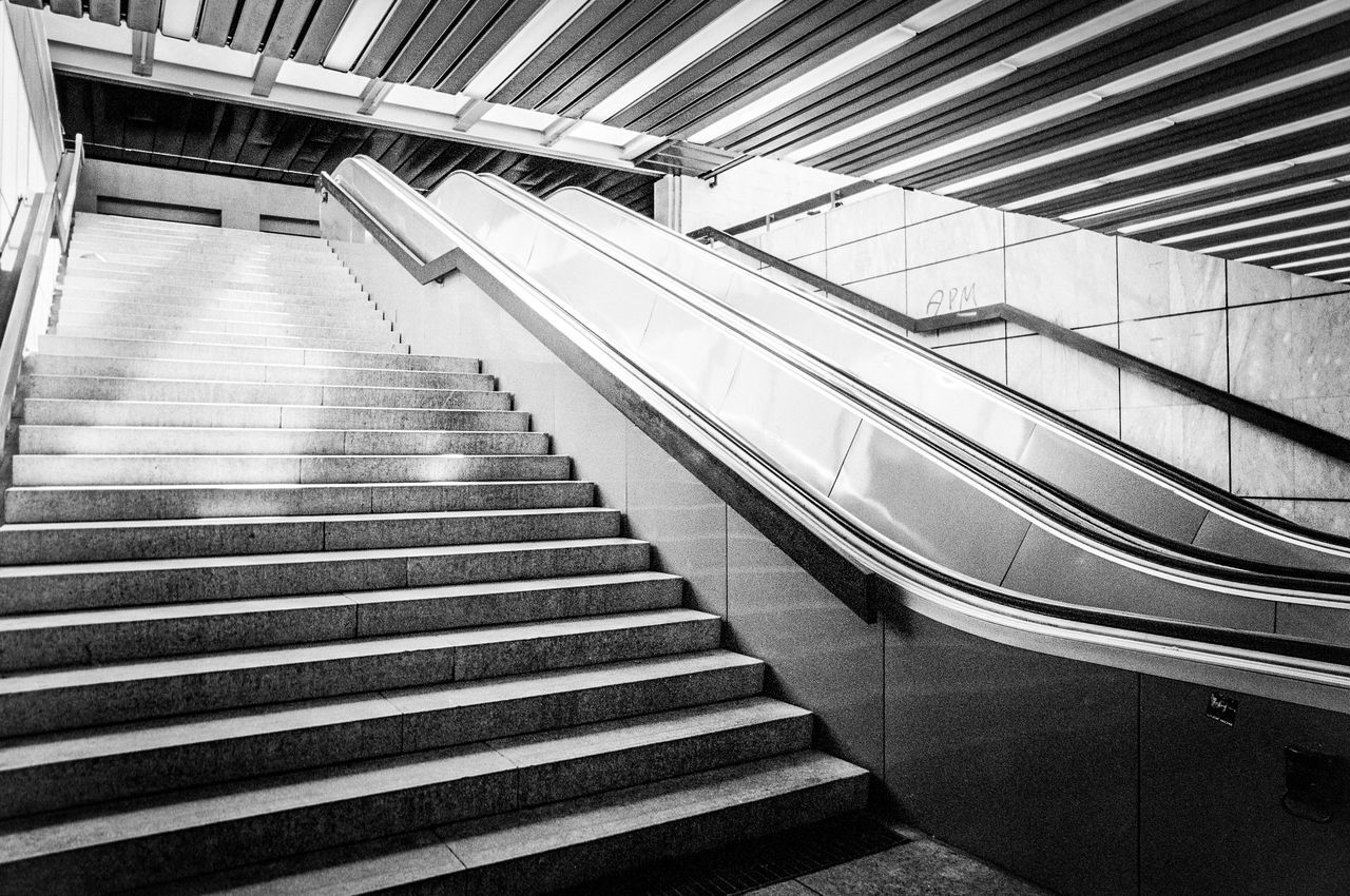 Lines: Karlsruhe Underground Architecture Built Structure Day Futuristic Indoors  Low Angle View Modern Nikonphotography No People Railing Staircase Steps Steps And Staircases Technology