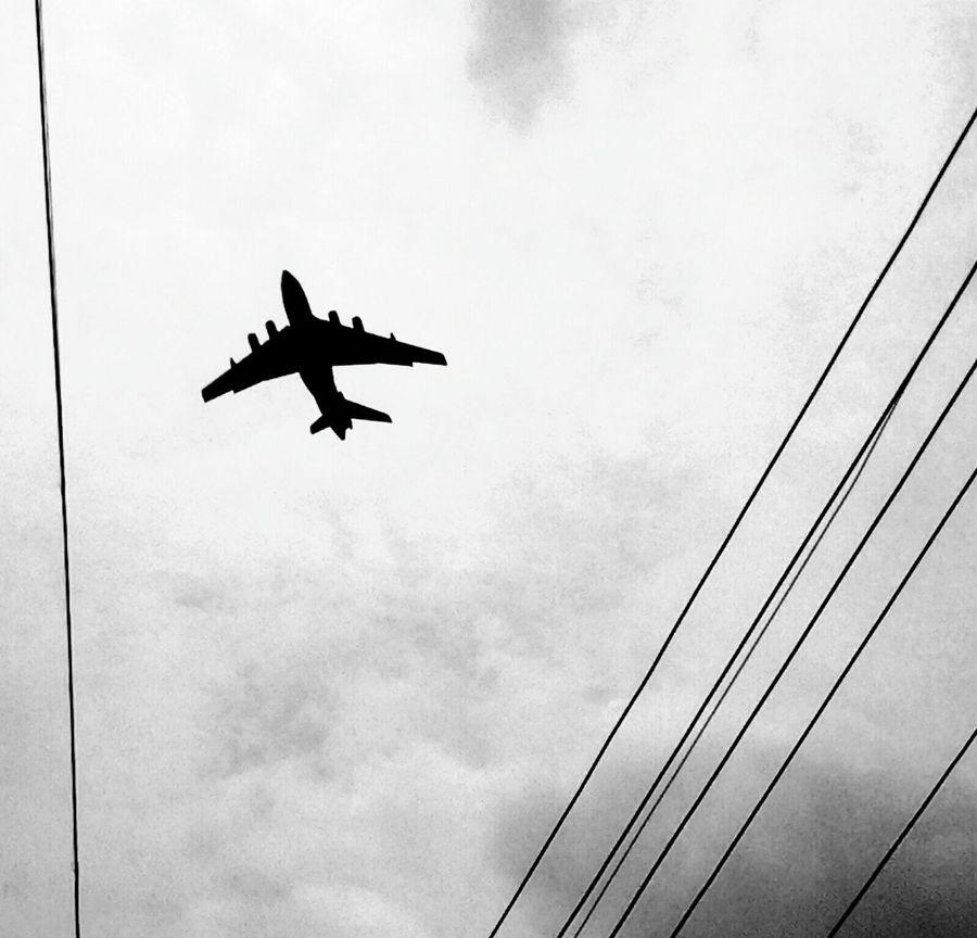Airplane Blackandwhite Phoneography Asuszenfone5 Photography Electric Wire Blackandwhite Photography