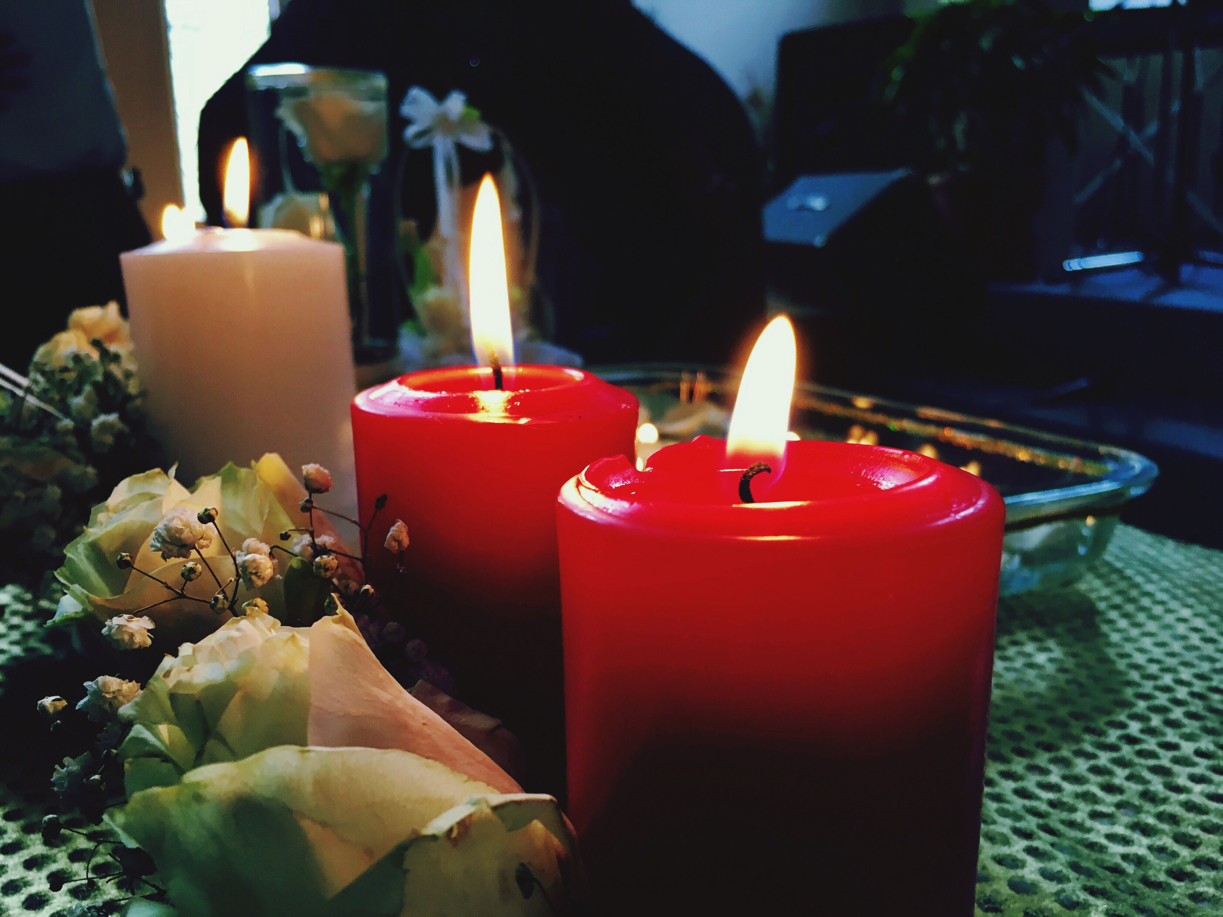 candle, flame, burning, red, glowing, close-up, no people, wax, indoors, celebration, luminosity, tea light, day