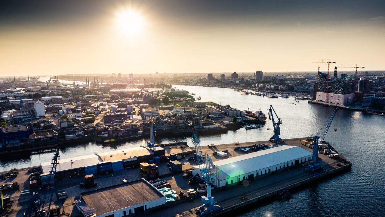 Flying over Hamburg Harbour Aerial Shot Hamburg Hafencity Hamburg Harbour Magestic Panoramic Photography River Sunset Transport