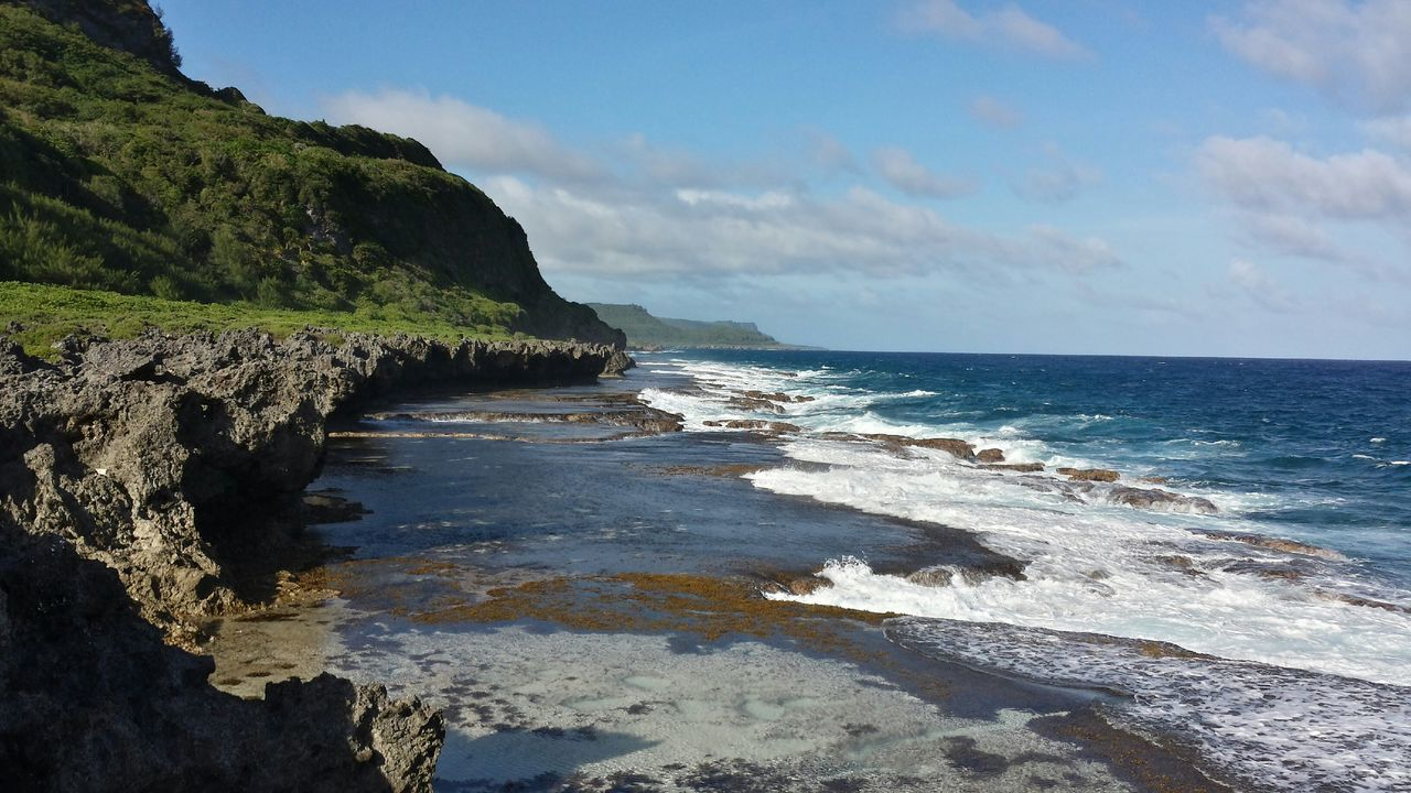 Fadian Point 'd Iangua'm Lanscape Cliffside Reef Waves, Ocean, Nature Waves Guam Island GUAM..a Place I Call Home Guam Scenics Guamskies Nature