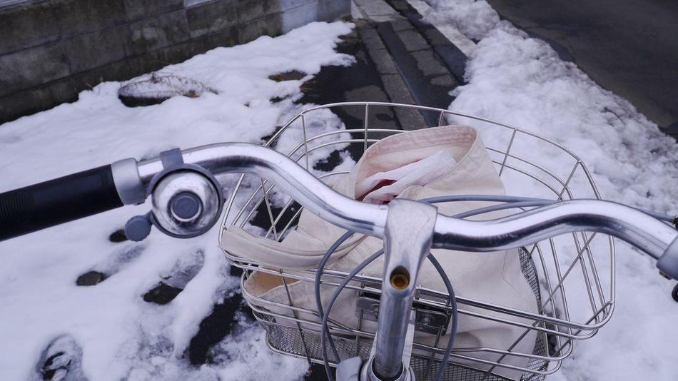 Winter Snow Cold Temperature Outdoors Day Bycicle Going To Market