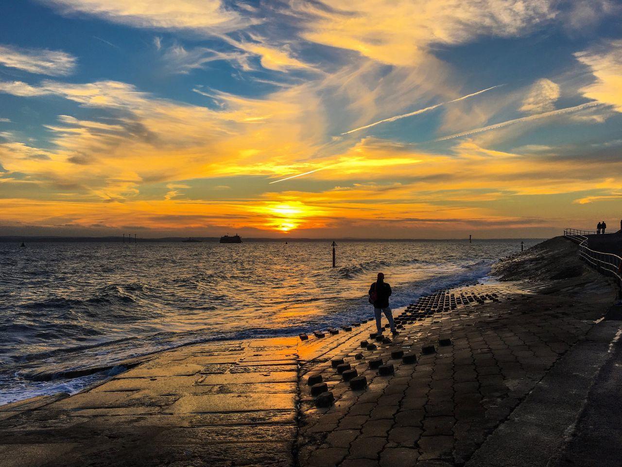 Landscape Landscape_Collection Man Waching Sundown Orange Sky Cloud - Sky Water Sea Outdoors Winter Horizon Over Water