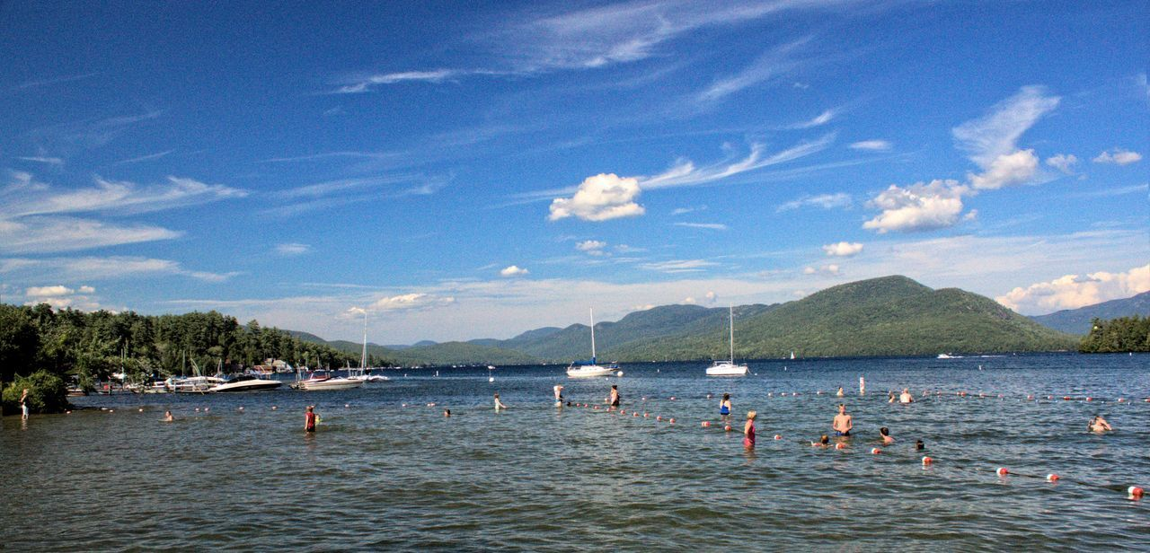 Beauty In Nature Cloud - Sky Day Lake George NY Mountain Nature Nautical Vessel No People Northwest Bay Outdoors Scenics Sea Sky Summer Swimming Tongue Mountain Tranquility Tree Vacations Water