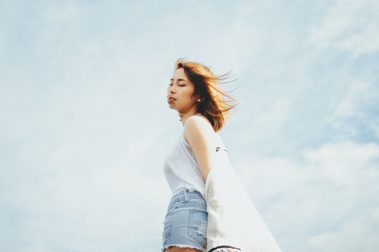 Casual Clothing Day Eyeem Philippines Low Angle View One Person People Portrait Real People Sky Young Adult Young Women