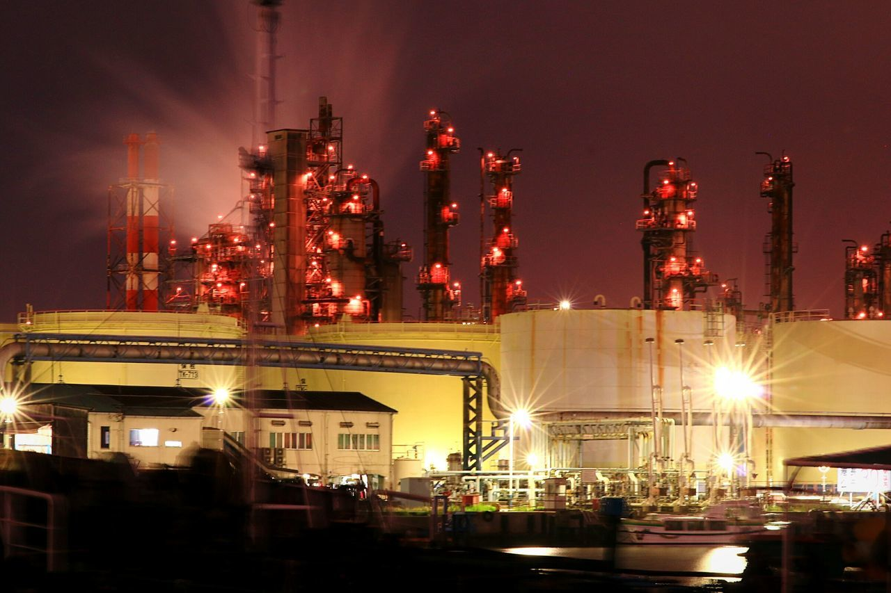 Night Illuminated Oil Industry Factory Industry Refinery Factory Night View Nightscape Nightphotography Night View Japan Petrochemical Plant No People Oil Refinery Industry