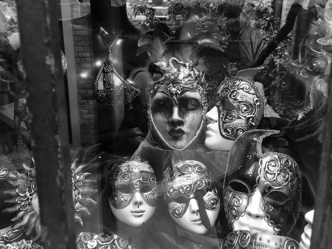 Black And White Close-up Day Europe Human Representation Indoors  IPhone Italy Kiss Mask Masks No People Ornate Shop Window Venetian Mask Venice Venice, Italy