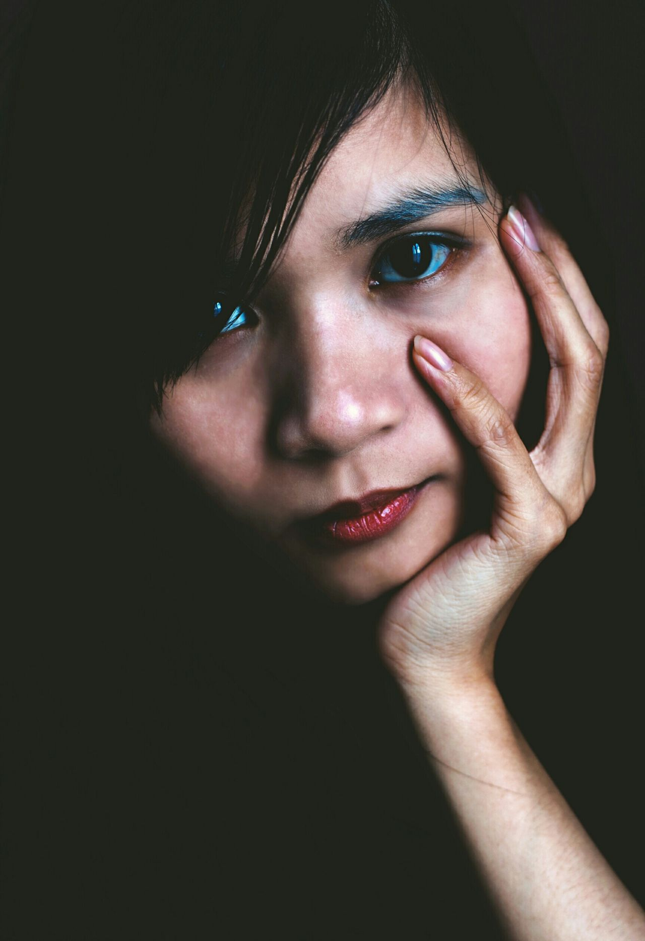 Beautiful stock photos of black background, Black Background, Close-Up, Front View, Hand On Chin