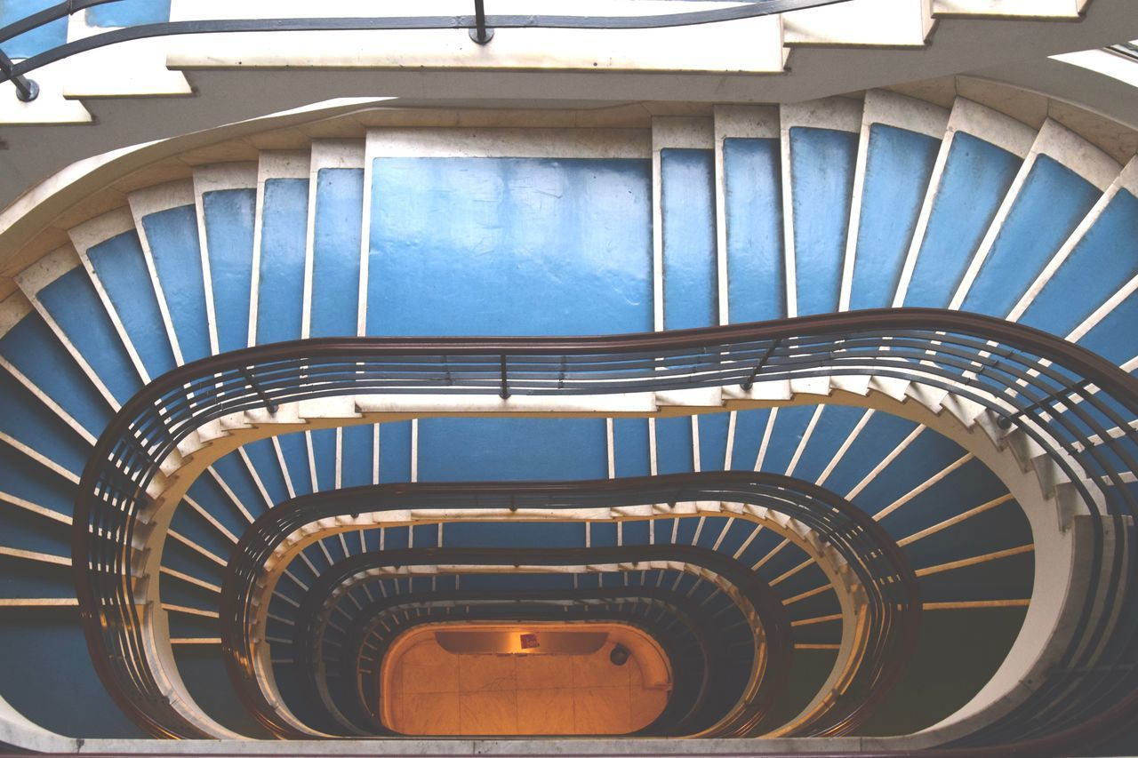 Architecture Bauhaus Beautiful Blue Budapest Built Structure Curve Day Hand Rail High Angle View Indoors  Linoleum No People Railing Spiral Spiral Staircase Spiral Stairs Staircase Stairs Steel Steps Steps And Staircases