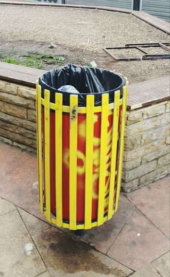 Open Top Bin Waste Management Waste Bin Waste Disposal Colourfull Bin Black Bin Liner Yellow And Red Colours Outdoors