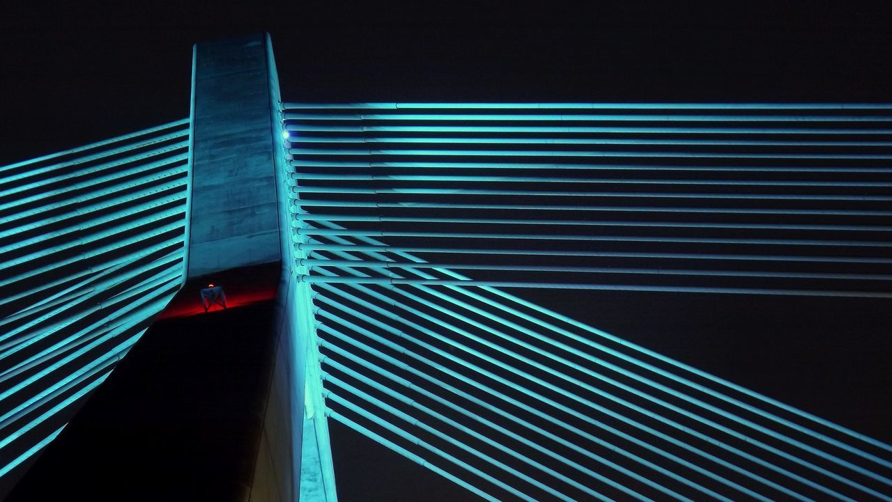 striped, illuminated, pattern, no people, red, night, blue, outdoors, close-up, neon, architecture