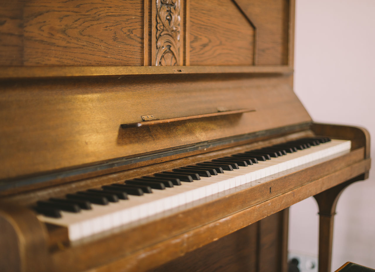 piano, musical instrument, music, piano key, arts culture and entertainment, wood - material, close-up, indoors, classical music, no people, day