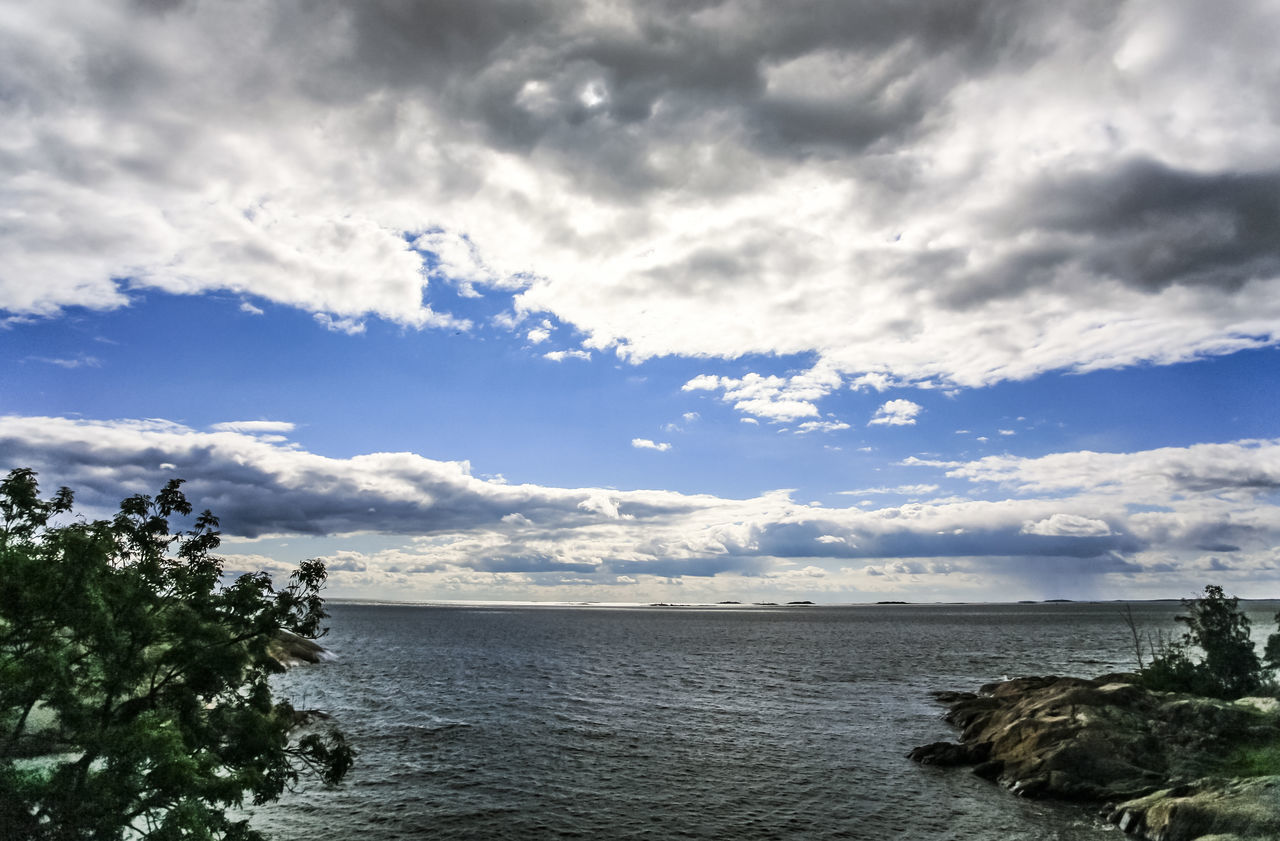 sky, nature, beauty in nature, tranquil scene, tranquility, scenics, sea, cloud - sky, no people, tree, outdoors, water, day, horizon over water