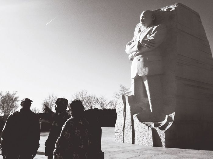 One cool King, and one important discussion about equality and humanity Washington DC MLK Memorial Memorial MLK Martin Luther King Jr Peoplephotography People Statue The Human Condition Black And White