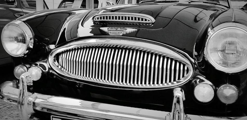Vintage Cars Classic Elegance Classic Car Austinhealy Blackandwhite Photography Arty Shots Metal Lamps Shiny Car Transport Close-up Carporn