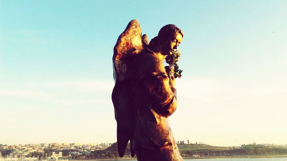Sunlight Angel Statue Oporto, Portugal City Douro River, Sky Reflection Statue