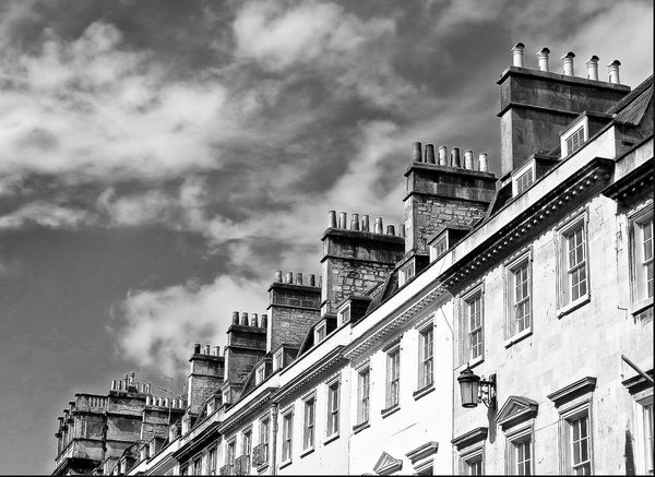 Architecture Building Exterior Sky Built Structure Cloud - Sky Low Angle View No People Balcony Outdoors Day Travel Destinations City Uk England Chimney Blackandwhite Bath Uk Black And White Monochrome Blackandwhite Photography Chimney Pots Chimneys