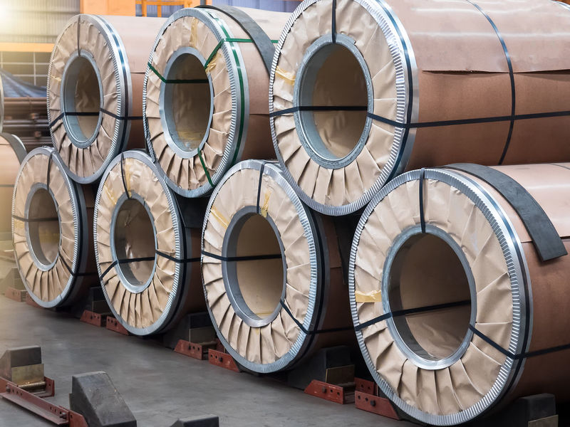 Steel coil in paper packaging are stacking in warehouse. Alloy Arrangement Auto Coil Cold Covering Day Export Factory Gavanize Indoors  Material Metal No People Package Paper Plate Production Roll Stack Steel Storage SUPPORT Warehouse Zinc