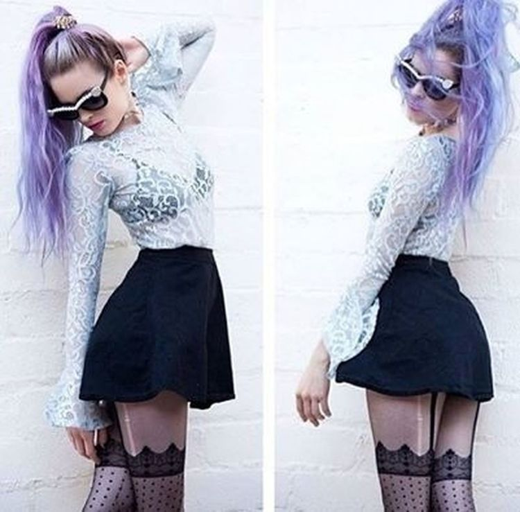 Girl Violet Hair Sunglasses Outfit