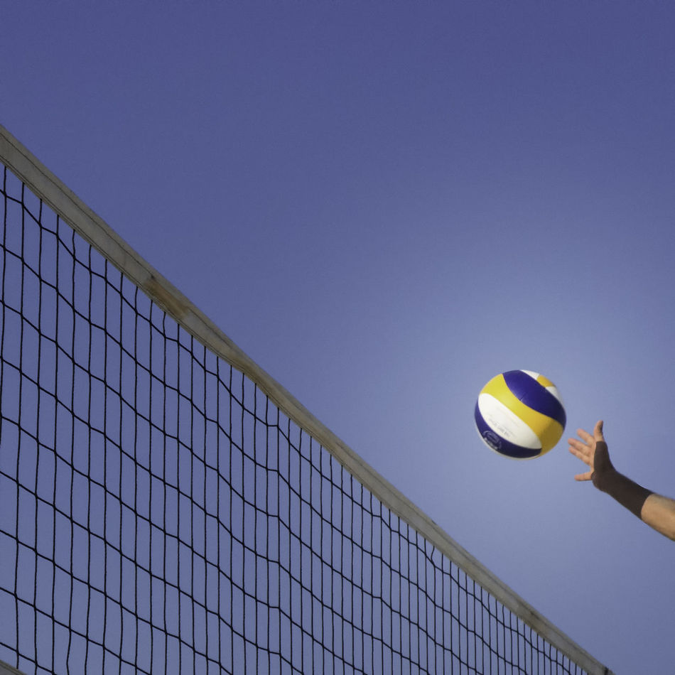 Beautiful stock photos of volleyball, sport, low angle view, ball, playing field
