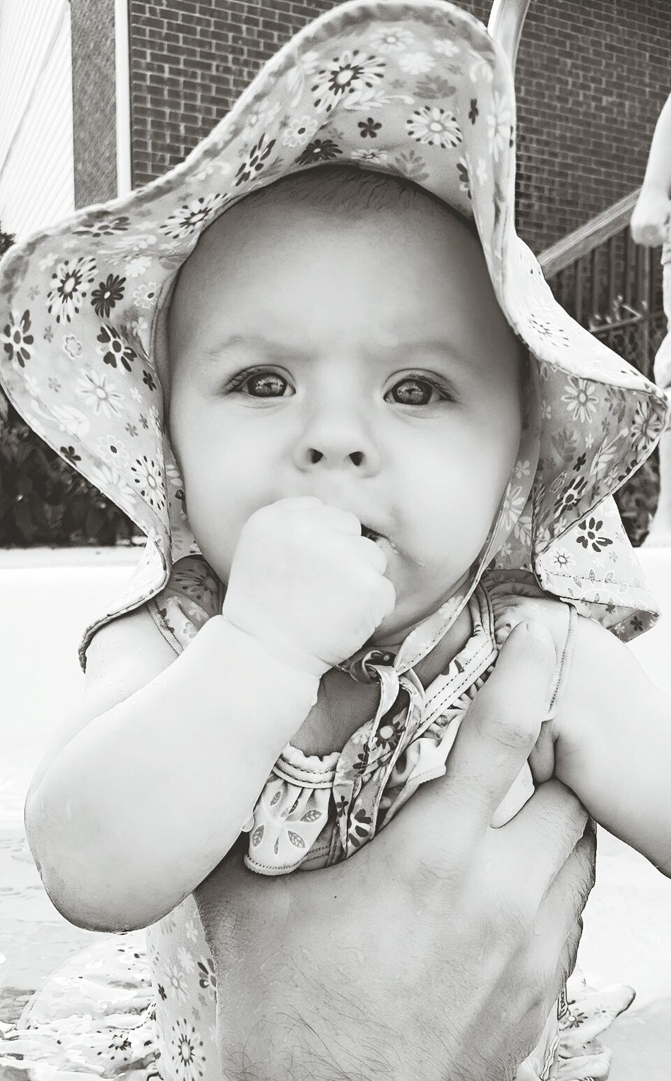Baby Summer Baby Swimming Babyswimming First Swim Cambriejoanna Blue Eyed Girl Daughter Summertime Summer Sunshine Blackandwhite Baby Girl Beautiful Beauty Infant Cute Adorable