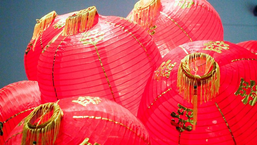 Chinese Lantern Cultures Red Chinese Lantern Festival Hanging Chinese New Year Traditional Festival Lantern Tradition Celebration No People Outdoors Low Angle View Multi Colored Day Close-up