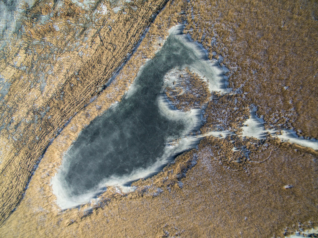 Aerial View Beach Beauty In Nature Day Drone  Finland Flying High Helsinki High Angle View Lake Lammassaari Mud Nature No People Oil Spill Outdoors Sand Seaside Textured  Top View Travel Water