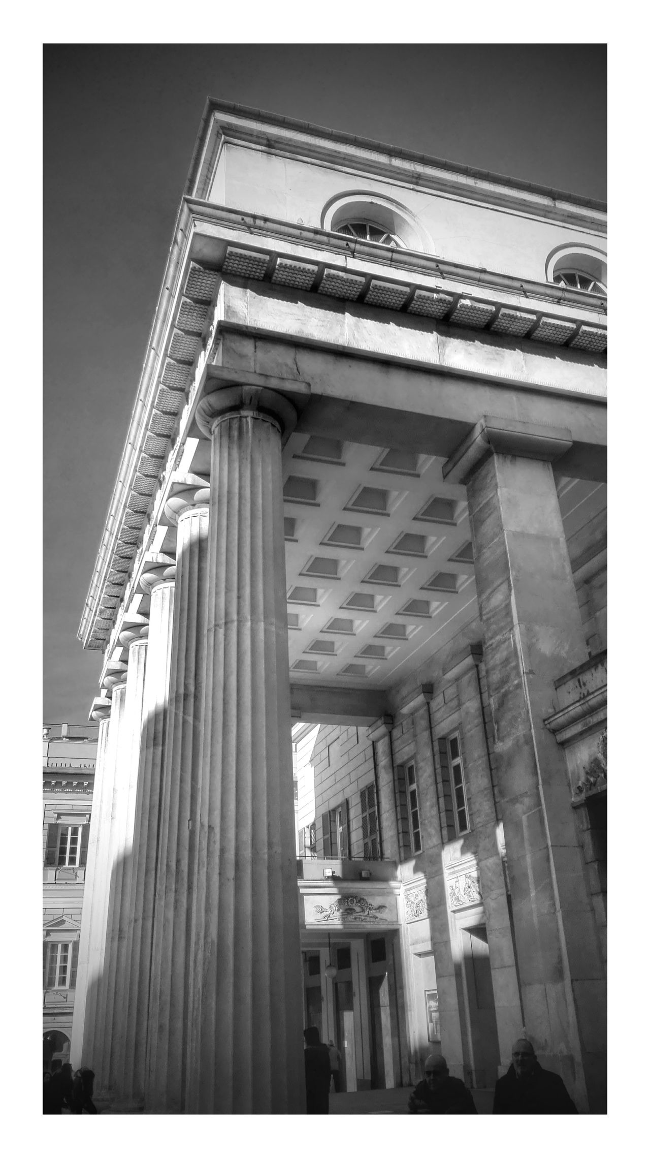 Teatro Carlo Felice Adapted To The City Architectural Column Architecture Black And White Blackandwhite Building Exterior Built Structure Day Low Angle View Monochrome Neoclassical Neoclassical Architecture No People Outdoors Theater Theatre