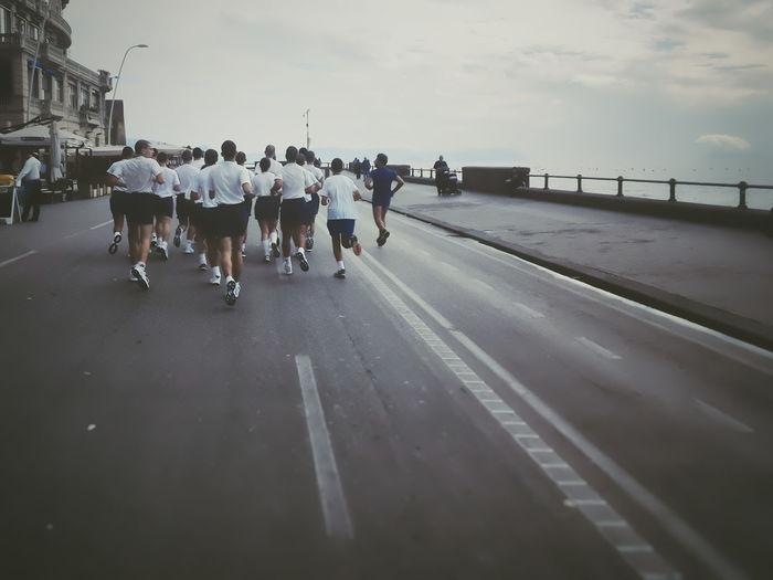 City Life Coastline Correre Journey Lifestyles Lungomare Men Naples Napoli Ragazzi Real People Run Sea Speed Walking