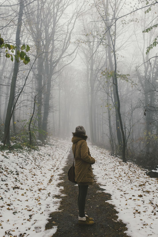 The Avala mountain, Serbia Adult Adults Only Bare Tree Beauty In Nature Branch Cold Temperature Day Fog Forest Full Length Leisure Activity Nature One Person One Woman Only Outdoors People Rear View The Way Forward Tranquility Tree Walking Warm Clothing Winter