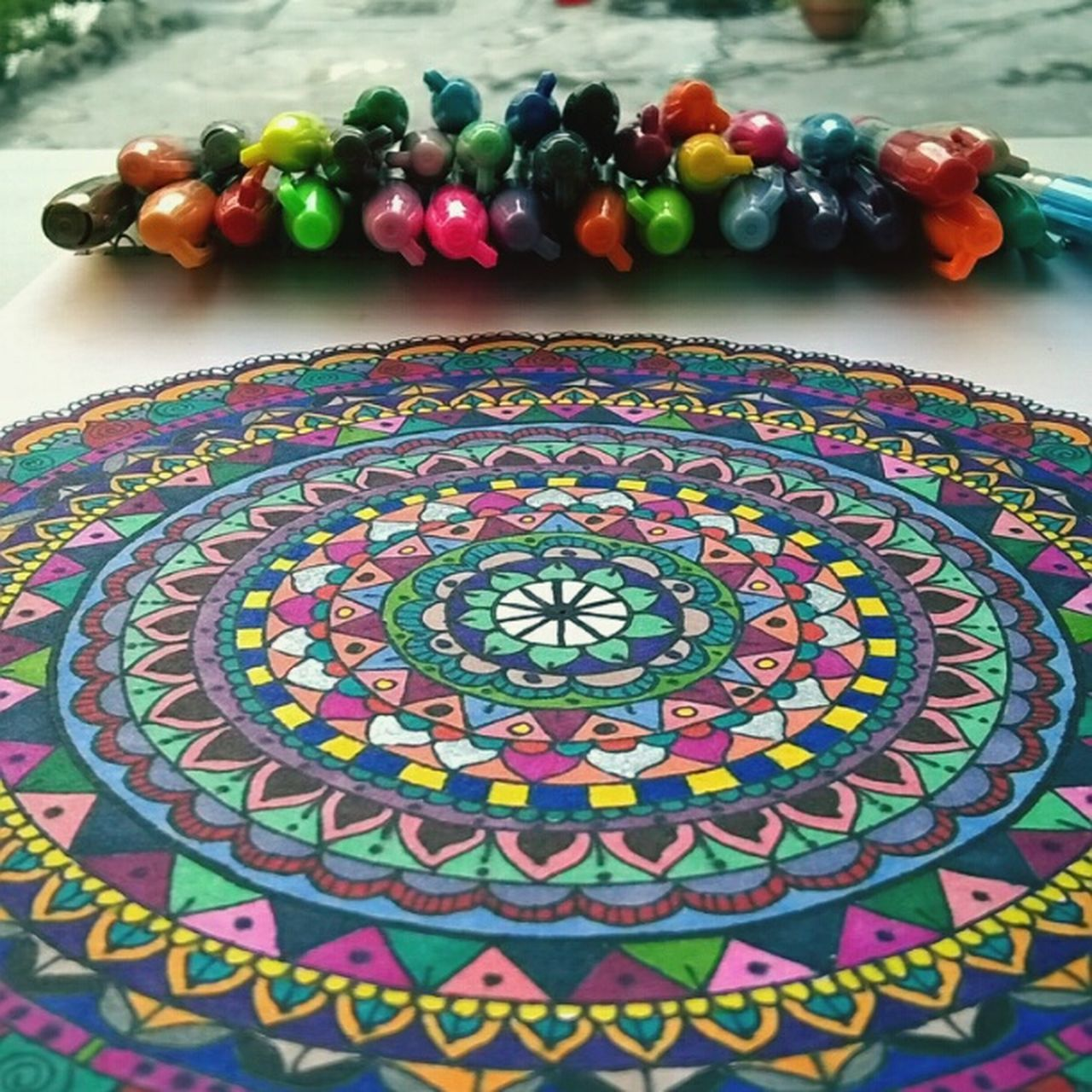 Multi Colored Celebration No People Indoors  Close-up Day Astrology Sign Drawing Drawings EyeEm Gallery First Eyeem Photo Eyemphotography Colorful Colors Clorful Mandala Mandalay Zentangle Zentangles Zentangleart Zentangle Art Mandala Art