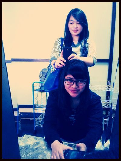 after having a haircut and creambath, with my sista (sitdown) Beautiful INDONESIA Girl Asian Girl
