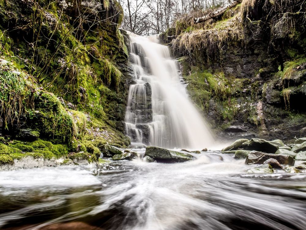 The waterfall at Lead Mines Clough, Anglezarke. Treacherous walk to get to it with all the mud but worth it in the end.. Waterfall Water Beauty In Nature Long Exposure Flowing Water Outdoors Rivington Country Park Rivington Lancashire Anglzarke Forest EyeEm Gallery Eye4photography  Beauty In Nature EyeEm Best Shots Pennines
