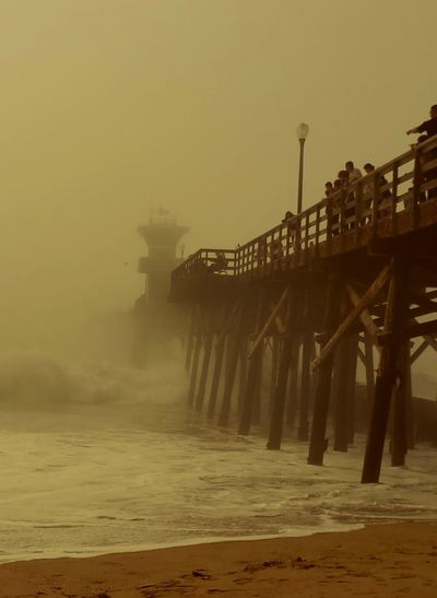 Misty Dusk Nature Water Pier Sea Outdoors Fog_collection Foggy Weather Pattern, Texture, Shape And Form Check This Out Fine Art Photography Meditation Copy Space Minimalism Depth Golden Moment Beauty In Nature Nature Ocean Waves And Sand Waves Crashing